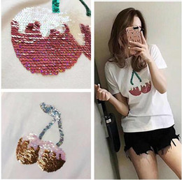 $enCountryForm.capitalKeyWord Canada - 2018 spring and summer new double nail bead sequins cherry cotton short sleeved T-shirt all-match tees girl