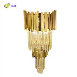 Crystal wall lights design online shopping - New design luxury crystal lamp lustre gold applique murale luminaire moderne home LED wall light height cm