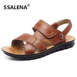Roman Style Sandals Shoes Flats NZ - Summen Mens Slip On Sandals 2018 Men Soft Leather Beach Flats Shoes Roman Style Casual Comfortable Slippers Shoes AA50266
