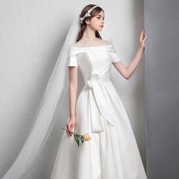 $enCountryForm.capitalKeyWord NZ - Mingli Tengda Luxury White Satin Wedding Dress 2018 Boat Neck Elegant Bridal Dress A Line Short Chapel Wedding Dresses Formal Ball Gowns
