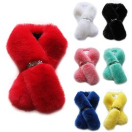 blue rabbit fur scarf 2019 - New Designer Winter Women Solid color Scarf Faux Rabbit Fur Scarves Warm Accessories Black white yellow blue red pink cy