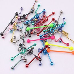 Earring tonguEs online shopping - Body Piercing Mix Style Mix Color Stainless Steel Tongue Bar Tragus Earring Piercing Bar Industrial Barbell