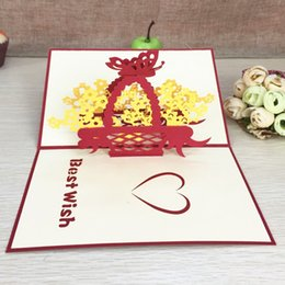 Paper Art Pop Up Cards Australia - 1pcs Love Flower Basket Laser Cut Origami Paper 3D Pop UP Cards Greeting Cards Arts Post Cards Valentine's Day Birthday Gifts
