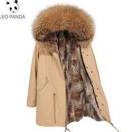 dog zipper NZ - Winter Woman New Fashion Faux Fur Plus Size Ladies Zipper Real Raccoon Dog Fur Hooded Loose Coats Female Real Coats CY375