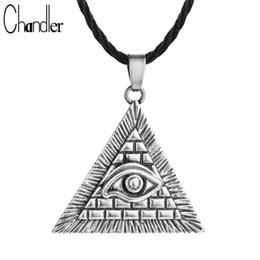 Egypt Pendants Australia - whole saleChandler Egyptian Egypt Pyramid All-Seeing Evil Eye Illuminati Antique Silver Charm Pendant Necklace For Men Boys Fashion Bijoux