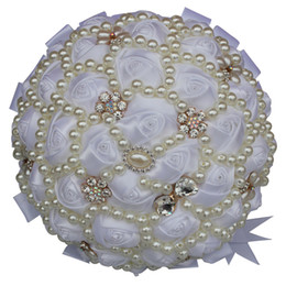 pearl silk cream NZ - Pearl Gorgeous Ivory Cream Brooch Bouquet Wedding Flowers Diamond Pearls Bride Bridesmaid Hand Holding Flowers W226A