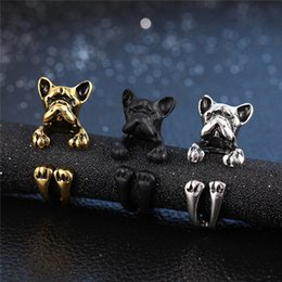 Ring Hippie NZ - Fashion 3 color Vintage antique Hippie Chic Bullfighting Dog open size Ring Cute Animal Ring factory price fine Jewelry Factory Wholesale