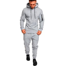 Body Fitness Suit Australia - Autumn Sport Clothing Men Running Jogging Suits Male Fitness Body Building Sportwear Hoodies Pants Tracksuit Set