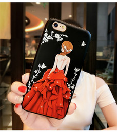 Apple iphone new model online shopping - New phone Case Red Painted Embossed With Diamond Phone Shell Female Models For Iphone X Plus