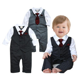 baby tie romper 2019 - Baby Boys Rompers Spring & Autumn Newborn Boys Gentleman Striped Jumpsuit s Waistcoat Romper with Bow Tie Clothes Costum
