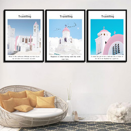 Art Church Australia - 3 Piece Beautiful Pink White House Church Pictures Home Decor Castle Scenery Painting Nordic Canvas Print Quotes Poster Bedroom Wall Art