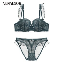 843400a835bde Green Women Underwear Set Lace Bras Push-up Brassiere Brand Deep V Lingerie  Embroidery Sexy Bra And Panties Sets Thick Cotton
