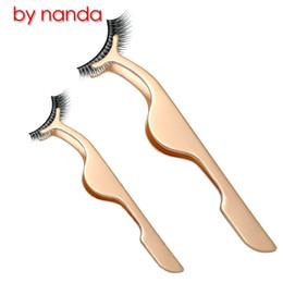 false eyelashes mascara 2019 - BY NANDA 1 Pcs Stainless Steel False Eyelashes Curler Extension Lashes Mascara Applicator Remover Tweezers Clips Makeup
