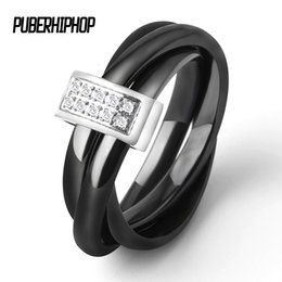 woman ceramic band 2018 - Three In One Ceramic Rings Stainless Steel Black White Three Alliances Ceramic Ring With Rhinestone Wedding Cross Ring F