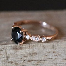 $enCountryForm.capitalKeyWord Australia - Black Stone Rings for Women Wedding Engagement Ring Gift Crystal Ring Rose Gold Luxury Jewelry Bague Femme Anillos Mujer Z3D152