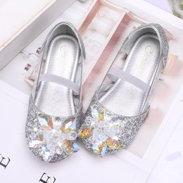 hard pump Australia - Girl's Leatherette Sparkling Glitter Flat Heel Closed Toe Pumps Flower Girl Shoes With Rhinestone608-180