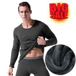fleece for winter 2019 - Thermal Underwear For Men Winter Long Johns Thick Fleece Thermo Underwear Set Undershirt+Legging Wear Male Clothing Big