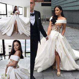 $enCountryForm.capitalKeyWord Australia - Sexy Satin Side Split Wedding Dresses Off Shoulder Lace Applique Corset Cheap Bridal Gowns Long Train Fashion Arabia Wedding Dress