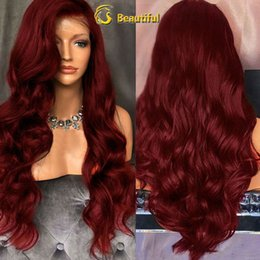 raw hair sale NZ - On sale 2018 8a beauty 100% unprocessed raw virgin remy human hair long burg big curly full lace cap wig for women