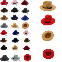 cb644ae06034bd Fashion TOP hats belt with metal ring Elegant Solid felt Fedora Hat Wide  Flat Brim Jazz Hats Trilby Panama Berets Caps GGA1162