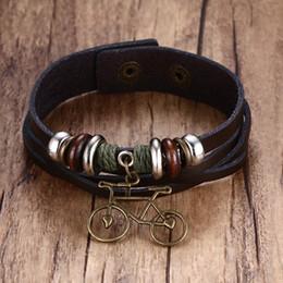 Discount teen bracelets - Brown Beaded Weave Leather Bracelet with a Metallic Bike Charm Bangle for Men Women Teens Brackelts Brazalet Jewelry Acc