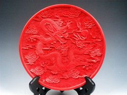 Lacquer China UK - Wholesale Collectibles Stunning Furious Dragon & Clouds Crafted Lacquer Plate 3 style