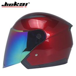 bicycle mirror 2019 - Half Covered Motorcycle Four Seasons Helmet Bicycle Double Lens Visor Mirror Men's and Women's Motorcycle Helm