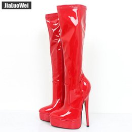 "Chinese  2019 New Red Women Knee Boots Man Cosplay Dancing Shoes Woman 18cm 7"" High Heeled Pointed Toe Platform Knee-High Long Boot Plus Size manufacturers"