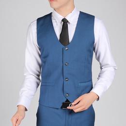 Discount dark blue gentlemen suits - British Style Royal Blue Gentleman Vest Men Office Formal Business Suit Vests Best Man Groom Wedding Vest Terno Colete M