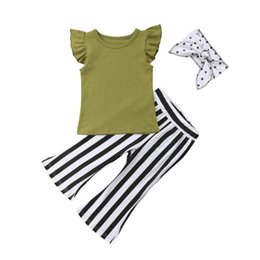 a13cac88336db Fashion New Toddler Kids Baby Girl Clothes Cotton T-shirt Tops+Striped  Flare Pant Bell Bottom Headband 3PCS Clothing Set