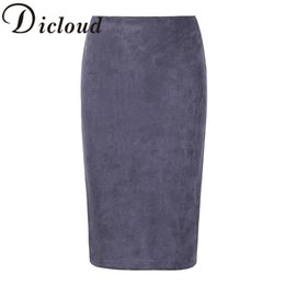 Chinese  KAYWIDE 2017 Women Suede Midi Skirt Female Spring Summer Multi Color Basic Tube Bodycon Pencil Skirts Saia Femininas S161207 D1891705 manufacturers