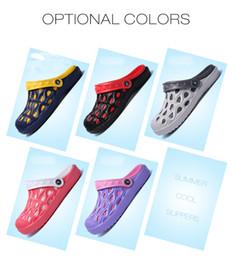 Clogs Leather Canada - Summer Fashion Unisex Men Women Clogs Slippers Breathable Mules Leisure Style Non-slip Beach Shoes Rubber Garden Shoes Hole EVA Sandals