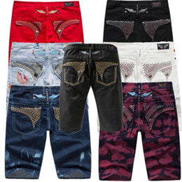 China man Diamond rivets Robin jeans Sommer Stil Robbins Shorts Jeans Male Denim Oil Paint Cowboy Shorts Famous Golden wings Jeans size 30-40 supplier male green jeans suppliers