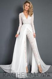 $enCountryForm.capitalKeyWord NZ - 2018 Lace Chiffon Wedding Dress Jumpsuit With Train Modest V-neck Long Sleeve Beaded Belt Flwy Skirt Beach Casual Jumpsuit Bridal Gown