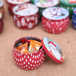 wholesale christmas gift tins Canada - tin plate Christmas gift box Merry Christmas metal storage box round shape container tin case Christmas candy box