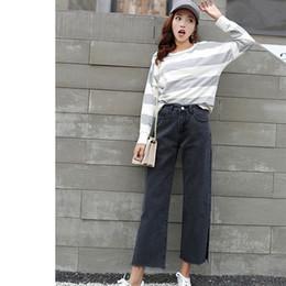 9e3f5c5444fa 2018 Korean Style Empire Women Casual Jeans Autumn New Loose Denim Pants  Fashion Black Split Wide Leg Trousers