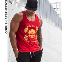 ce9705aa OA 2018 New Mens 'No Pain No Gain' Sleeveless Vests Bodybuilding Workout  'Beast Mode' Stringer Tank Tops Breathable Singlets