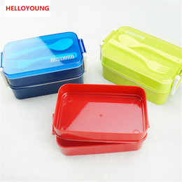 Korean spoons online shopping - Preference lunchbox tableware Double plastic bento lunchboxes Double buckle around lunchbox can microwaveoven
