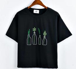 c9e2737d269 New Summer Korean Style Women T-Shirt Harajuku Bottle Plants Pattern Kawaii  Embroidery Cotton Tee Shirt Cute Tops Female