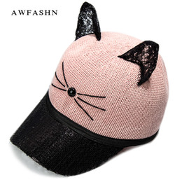 02011e7a3bee8 Small baby capS online shopping - Children s small ear baseball caps kitten  hats Casual sunhat