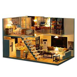 Diy de madeira sotão apartamentos casa de bonecas moderno modelo de mobília home em miniatura kit crianças artesanato artesanal toys kid luz led presente venda por atacado