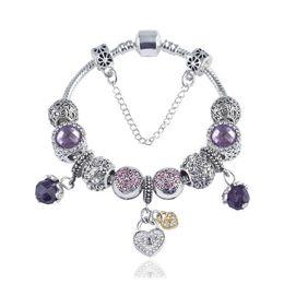 2b88c2bc81f5 Charm Beads Bracelet 925 Silver Pandoa style Pulseras love flower crystal  shoes colgante de cadena de serpiente Brazalete Diy Joyería con logol ...