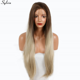 straight blonde wig roots 2019 - Sylvia Long Straight Medium Brown Blonde Ombre Roots Synthetic Wigs Heat Resistant Hair Natural Two Tone Color Lace Fron