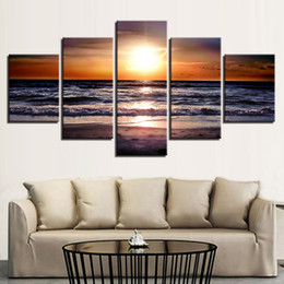 $enCountryForm.capitalKeyWord Australia - Canvas Paintings Home Decor HD Prints Framework 5 Pieces Sunset Beach Seascape Pictures Sea Waves Posters Living Room Wall Art