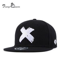 Discount flat brim panel hats - Pump Queen Unisex Fashion Classic 5 Panels Cotton Snapback Cap 3D X Embroidery Mens Flat Brim Baseball Cap Hip Hop Hats
