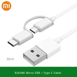mi cable 2019 - Original XIAOMI USB Cable 30CM 2IN1 2A Micro USB Type C Fast Charger Data Line For MI A1 5 6 6X 8 SE Redmi Note 3 4 4X 5