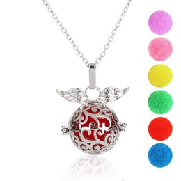 Hollow Perfume Lockets Australia - Angel Wings Freedom Sliver Necklace Locket Aromatherapy Essential Oil Diffuser Hollow Necklace perfume pendant Gifts Wholesale Fast Shipping
