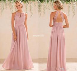 59b92f1e8e Blush 2017 Cheap A Line Lace Chiffon Bridesmaid Dresses A Line High Neck  Backless Long Summer Beach Garden Wedding Guest Evening Party Gowns