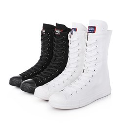 Ladies Flat Boots Shoes Canada - New arrival unisex zip fashion boots girl students canvas boots men women casual boots ladies white shoes girls flat heel   elevator shoes