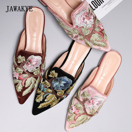 Chocolate Color Flat Shoes NZ - New Arrival Embroidered Velvet Slipper Woman Pointed Toe Mixed Color Fashion Flats Lady Lazy Muller Shoes Woman In Summer